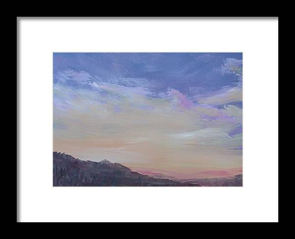 Landscape Framed Print featuring the painting Mountain Dew by Pete Maier
