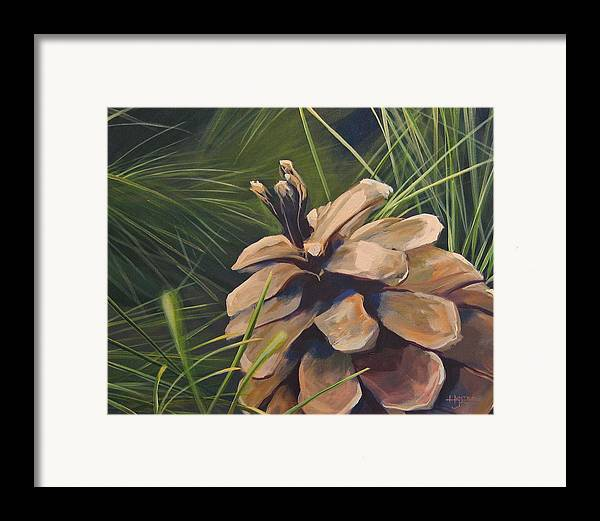 Pinecone Closeup Framed Print featuring the painting Mountain Echoes by Hunter Jay