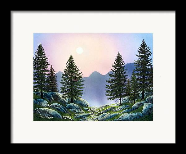 Landscape Framed Print featuring the painting Mountain Firs by Frank Wilson