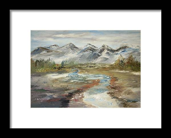Landscape Framed Print featuring the painting Mountain Fresh Water by Edward Wolverton