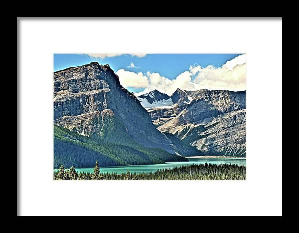 Mountains Framed Print featuring the photograph Mountain Glacier And Lake by Frozen in Time Fine Art Photography