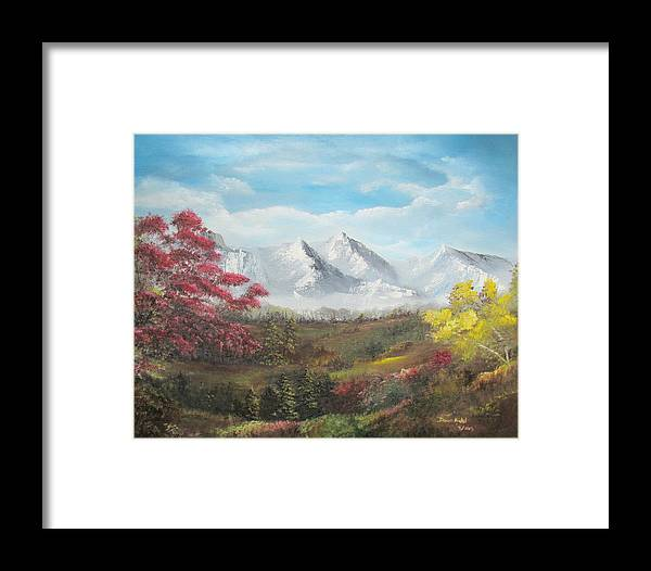 Landscape Framed Print featuring the painting Mountain High by Dawn Nickel