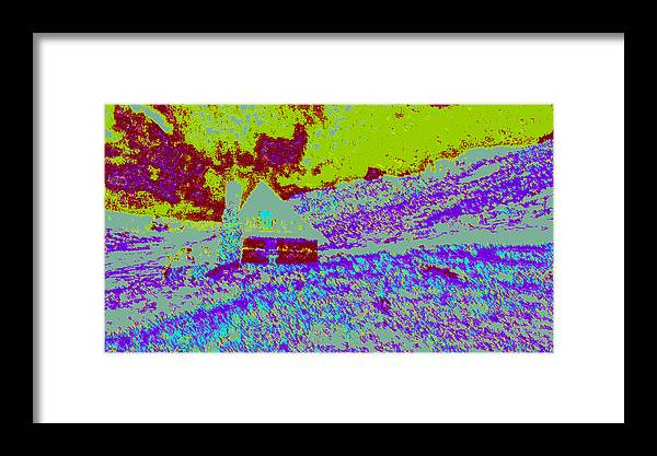 Framed Print featuring the digital art Mountain House Dd4 by Modified Image