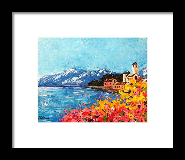 Landscape Framed Print featuring the painting Mountain Lake In Italy by Sergei Kolesov