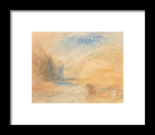 Mountain Landscape With Lake Framed Print featuring the painting Mountain Landscape With Lake by Grypons Art