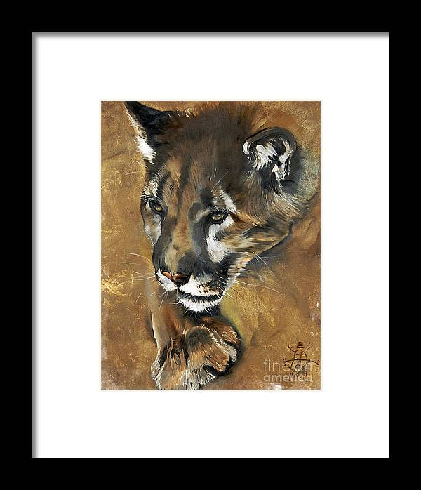 Southwest Art Framed Print featuring the painting Mountain Lion - Guardian Of The North by J W Baker