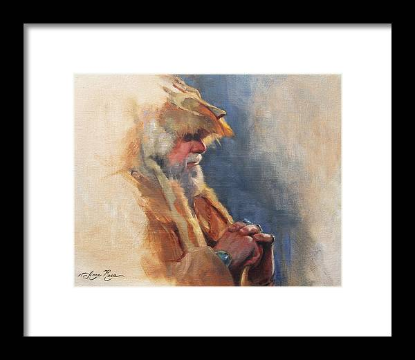 Mountain Framed Print featuring the painting Mountain Man by Anna Rose Bain
