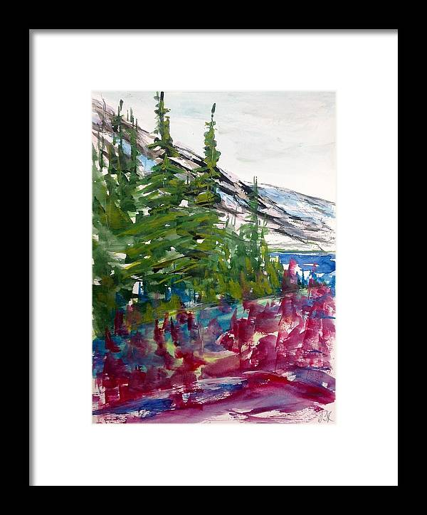 Abstract Watercolour Landscape Painting Framed Print featuring the painting Mountain Meadow Wash by Desmond Raymond