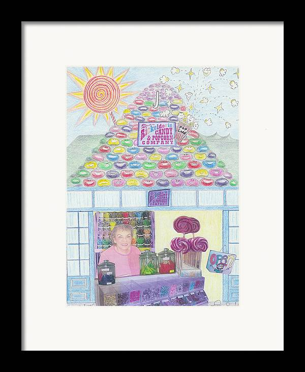 Mountain Framed Print featuring the drawing Mountain Of Jelly Beans by Ingrid Szabo