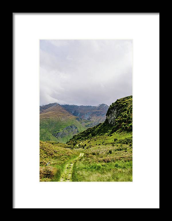 Path Framed Print featuring the photograph Mountain Path Vert by Chris Greig