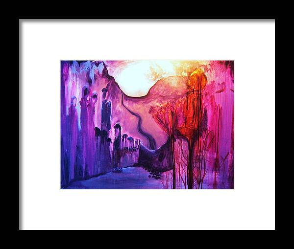 Mountains Framed Print featuring the painting Mountain People by Meshal Hardie