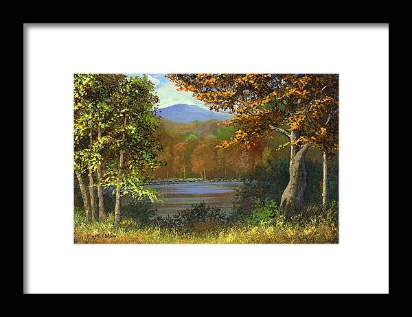 Landscape Framed Print featuring the painting Mountain Pond by Frank Wilson