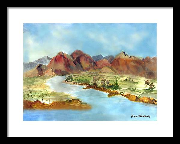 Desert Mountains And Water Framed Print featuring the print Mountain Range by George Markiewicz