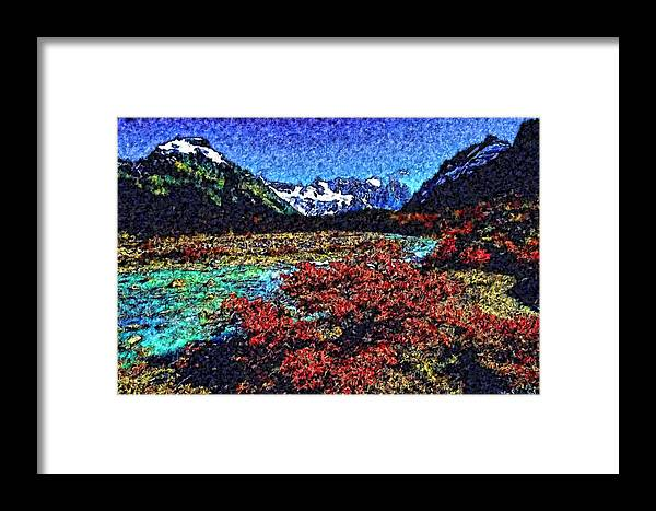 Framed Print featuring the digital art Mountain River Faa2 by Modified Image