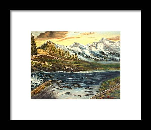 Landscape Framed Print featuring the painting Mountain River by Kenneth LePoidevin