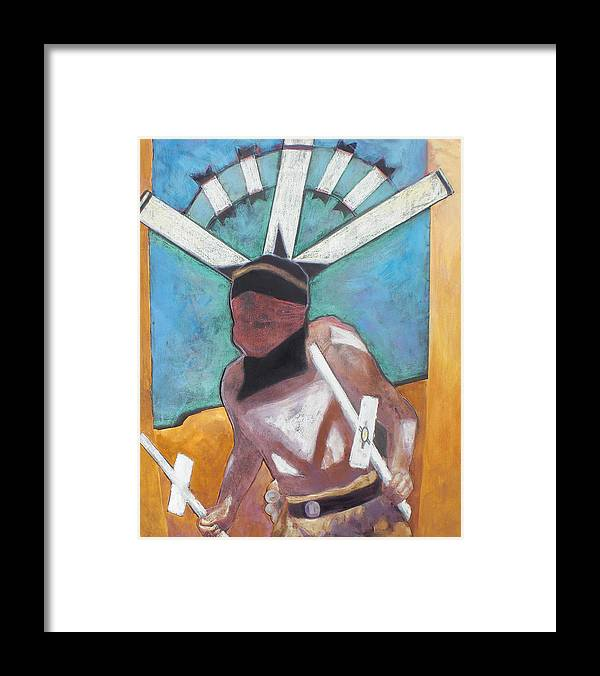 Native American Framed Print featuring the mixed media Mountain Spirit Dancer by Jo Thompson