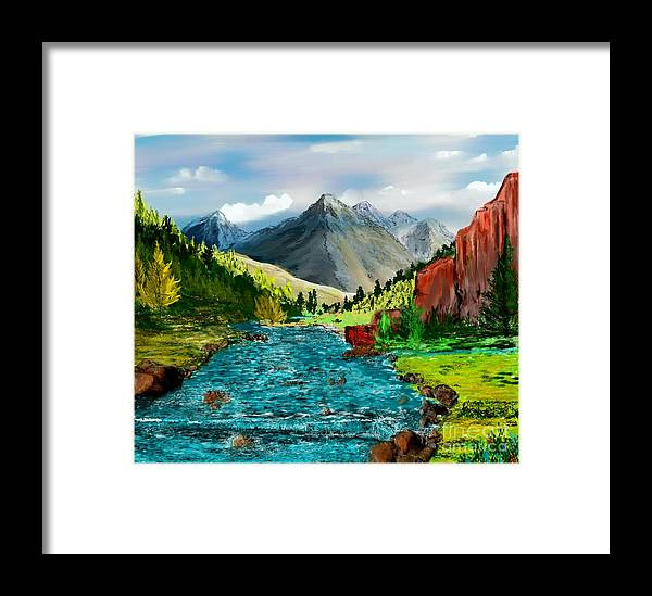 Nature Framed Print featuring the digital art Mountain Stream by David Lane