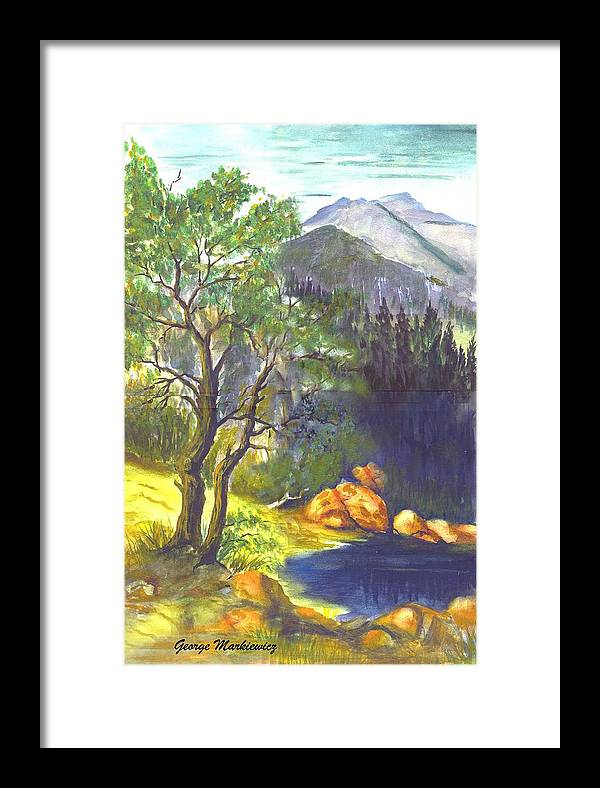 Landscape With Mountians Framed Print featuring the print Mountain Sun by George Markiewicz
