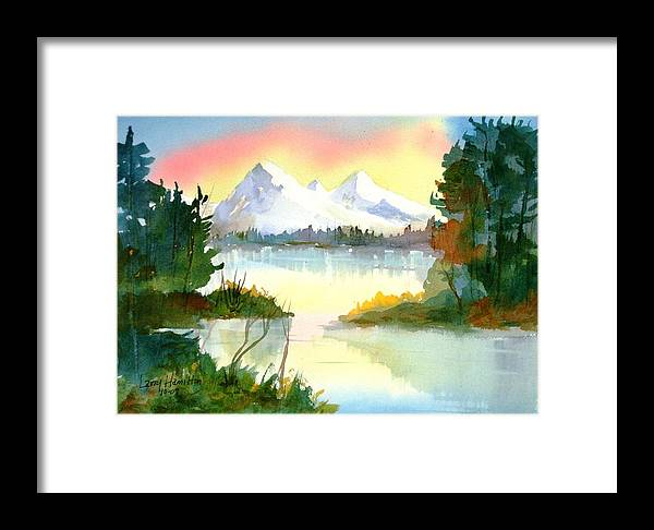 Watercolor Framed Print featuring the painting Mountain Sunset by Larry Hamilton