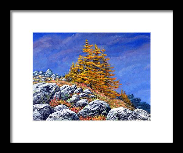 Mountains Framed Print featuring the painting Mountain Tamaracks by Frank Wilson