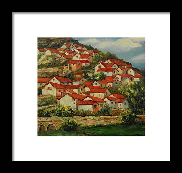 Paintings Framed Print featuring the painting Mountain Village by Min Wang