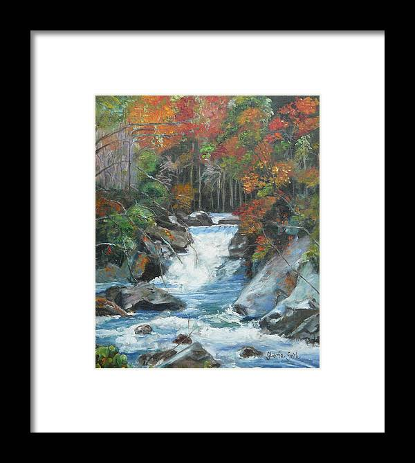 Water Framed Print featuring the painting Mountain Waterfall by Gloria Smith