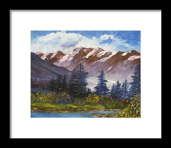Oil Painting Framed Print featuring the painting Mountains I by Lessandra Grimley