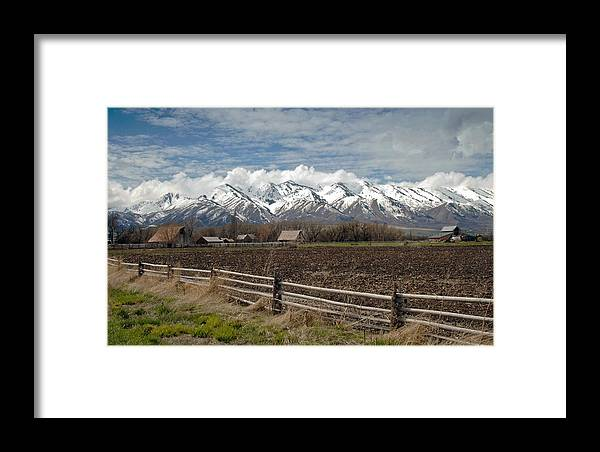 Fine Art Mountains Utah Photographs. Utah Photographs. Utah Pictures. Fine Art Snow Cap Mountain Photography. Fine Art Utah Mountain Greeting Cards. Fine Art Mountain Landscape Greeting Cards. Fine Art Canvas Prints. Mountain Canvas Prints. Fine Art Fence Landscape Photography. Mixed Media. Mixed Media Photography. Mixed Media Landscape Photography. Mixed Media Mountain Photography. Framed Print featuring the photograph Mountains In Logan Utah by James Steele