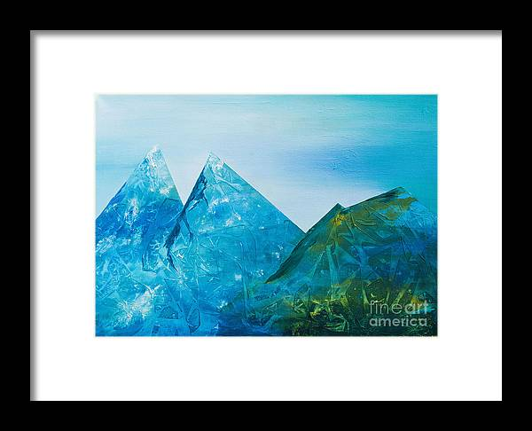 Nature Framed Print featuring the painting Mountains by Kaiti Lillipuu