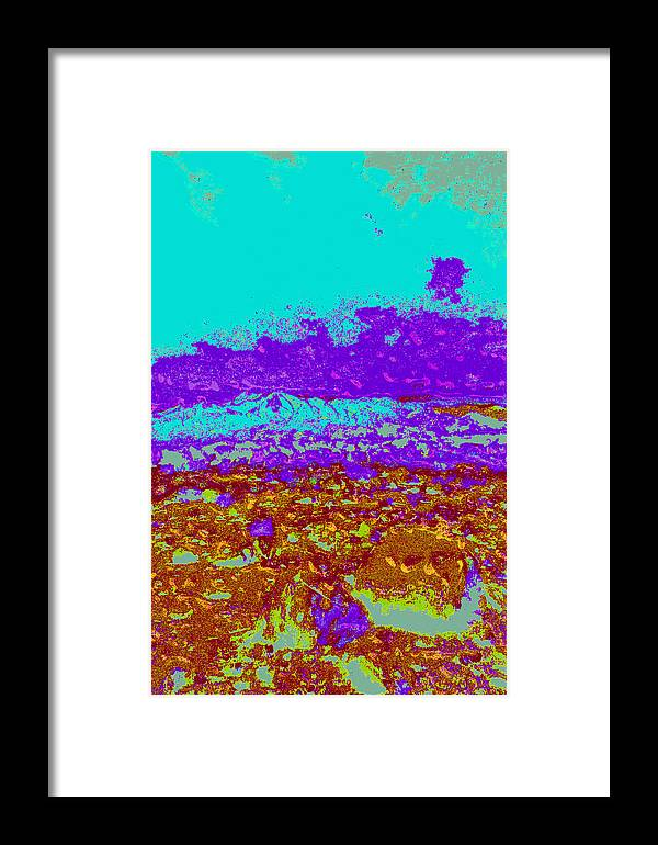 Framed Print featuring the digital art Mountains Sky D4 by Modified Image