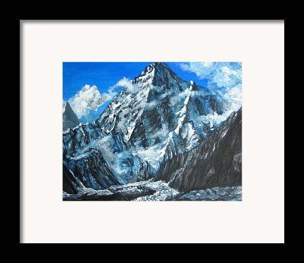 Mountains Framed Print featuring the painting Mountains View Landscape Acrylic Painting by Natalja Picugina