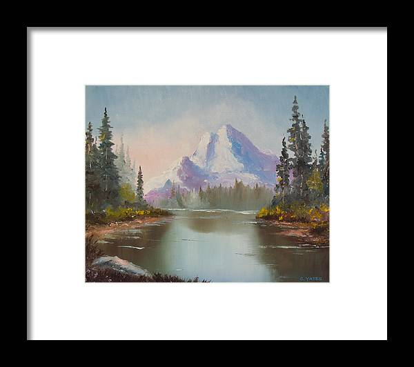 Mountain Scene Framed Print featuring the painting Mountaintop by Charles Yates