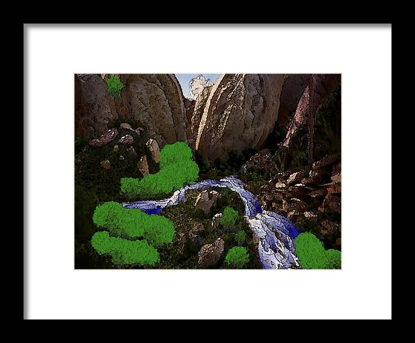 Stones.rocks.mountines.sky.cloud.bushes.river.water.flow. Framed Print featuring the digital art Mountine River by Dr Loifer Vladimir