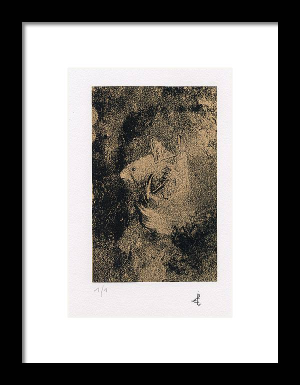 Framed Print featuring the drawing Mouse by Claudine Despinoy