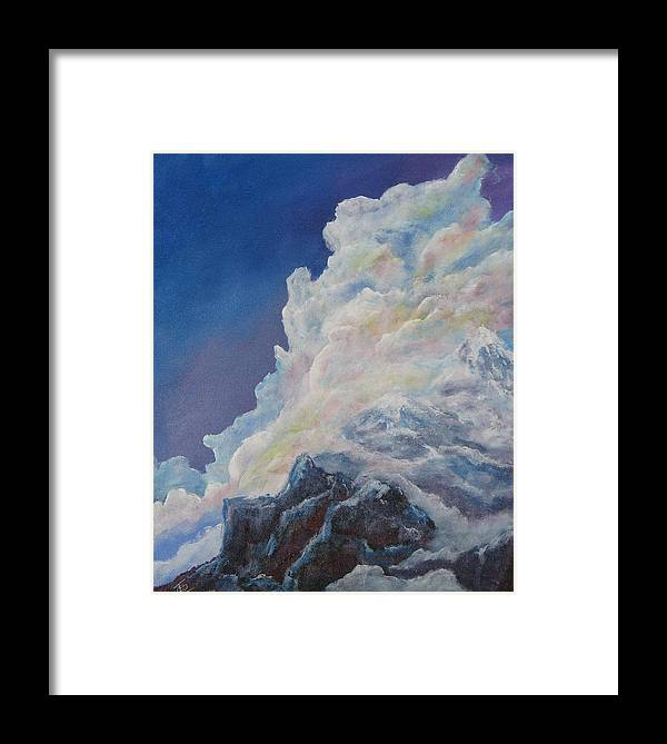 Landscape Framed Print featuring the painting Moutain In The Clouds by Thomas Restifo