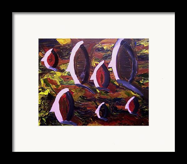 Heads Framed Print featuring the painting Movement by Karen L Christophersen