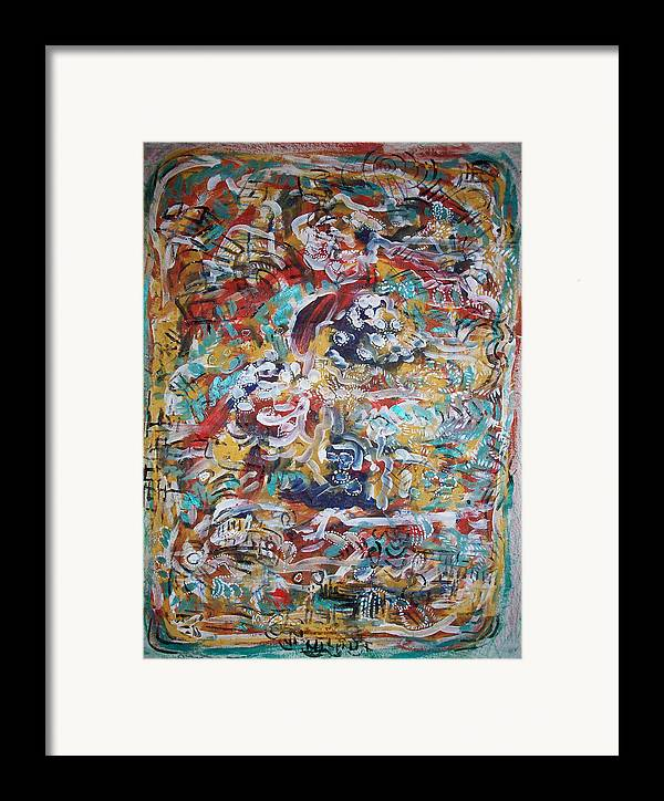 Abstract Framed Print featuring the painting Movements In Love by Helene Champaloux-Saraswati