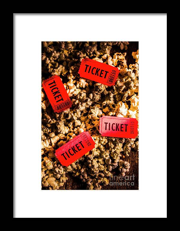 Movie Tickets On Scattered Popcorn Framed Print by Jorgo Photography ...