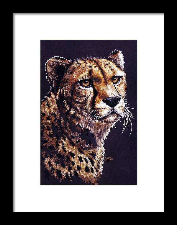 Cheetah Framed Print featuring the drawing Movin On by Barbara Keith