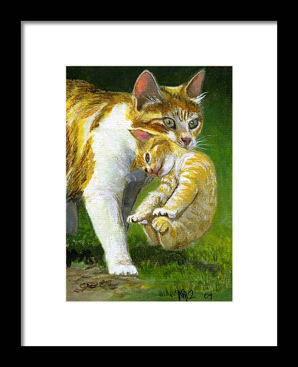 Cat Painting Framed Print featuring the painting Moving Day by Mary Mapes