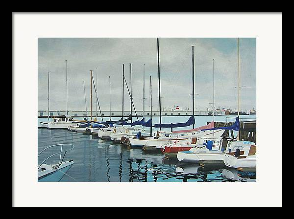 Boats At Dock Framed Print featuring the painting Mozells Boats by Howard Stroman