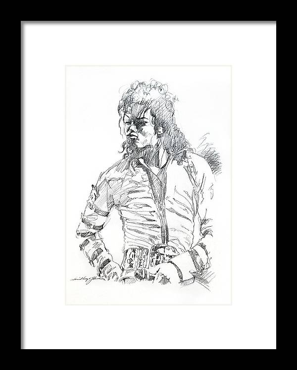 Michael Jackson Framed Print featuring the drawing Mr. Jackson by David Lloyd Glover