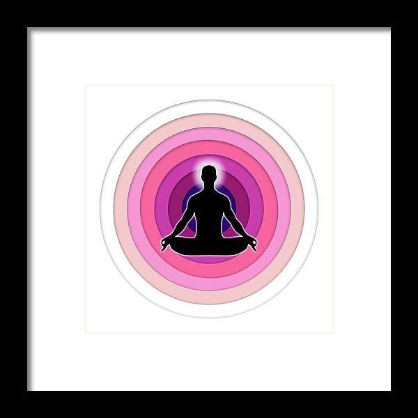 Yoga Framed Print featuring the digital art Meditation With Yoga by Jayesh Vachhani