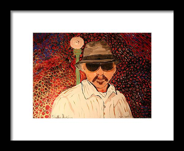 Street Lamp Abstract New Yorker New York Man Sunglasses Father Gold Silver Blace Blue Red White Green Framed Print featuring the painting Mr.perez by Shellie Gustafson