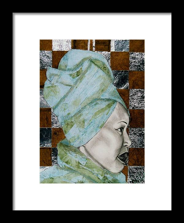 Malik Seneferu's Art Framed Print featuring the drawing Mrs. Seneferu by Malik Seneferu