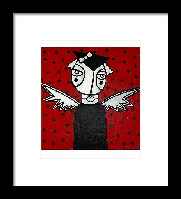 Potrait Framed Print featuring the painting Mrs.creepy by Thomas Valentine
