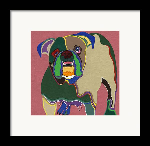 Dogs Framed Print featuring the painting Ms Diva The English Bulldog by Ruby Persson