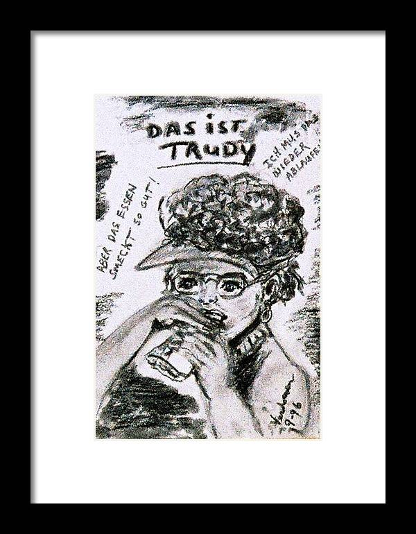 Caracature Portrait Framed Print featuring the drawing Ms Trudy Of South Carolina by Alfred P Verhoeven