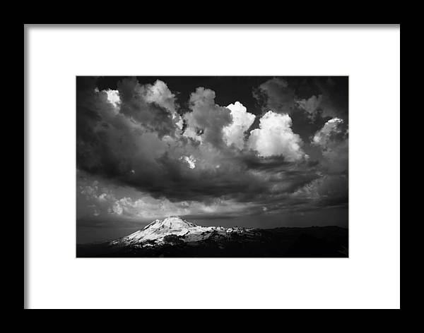Mount Framed Print featuring the photograph Mt. Baker Thunderstorm. by Alasdair Turner