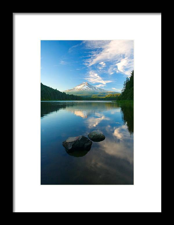 Mt. Hood Framed Print featuring the photograph Mt. Hood Cirrus Explosion by Mike Dawson